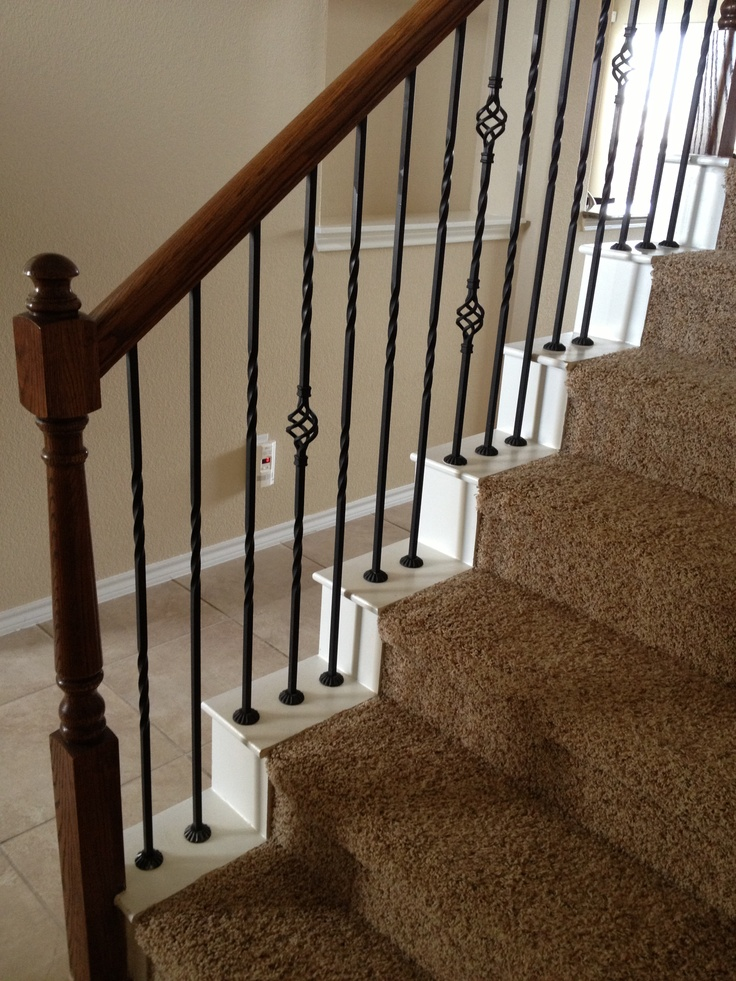 Pretty Staircase Railing And I Like How The Carpet Stops Short!