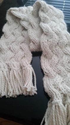 Free Knitting Pattern for Lamar Reversible Cable Scarf - Gale Zucker's unisex scarf is a quick knit in super bulky yarn.