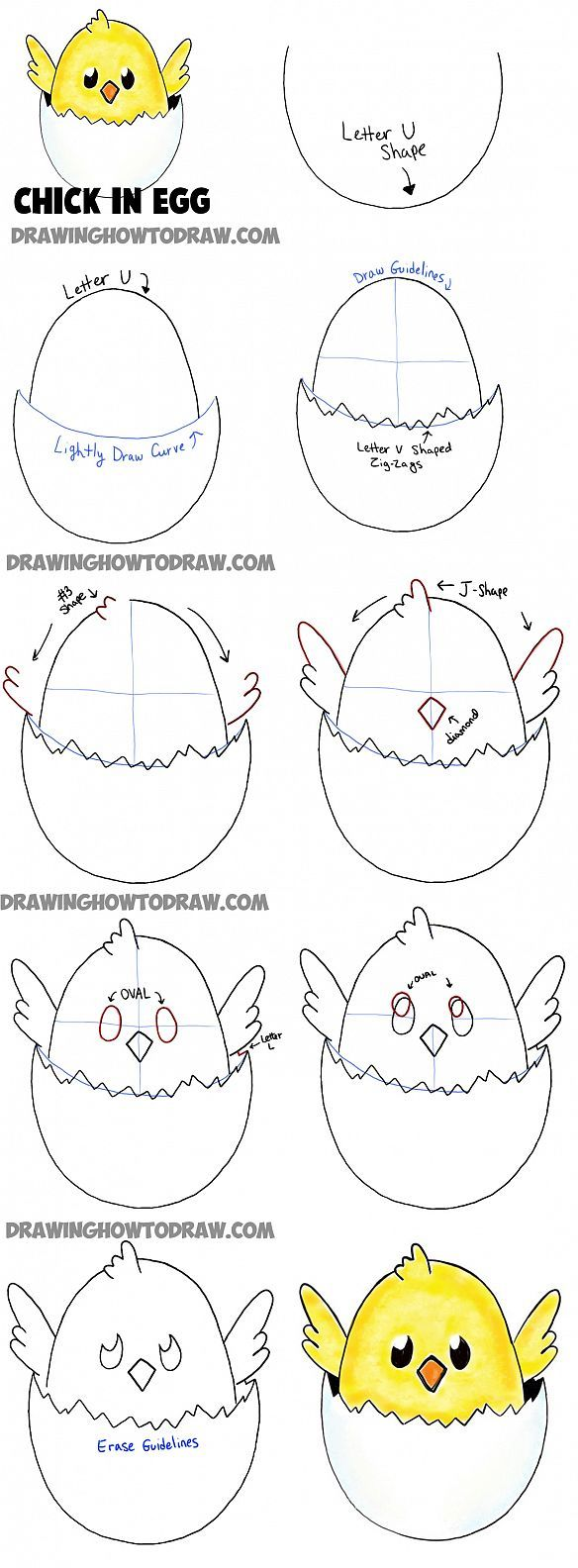 how to draw baby cartoon chicks - easy tutorial for kids
