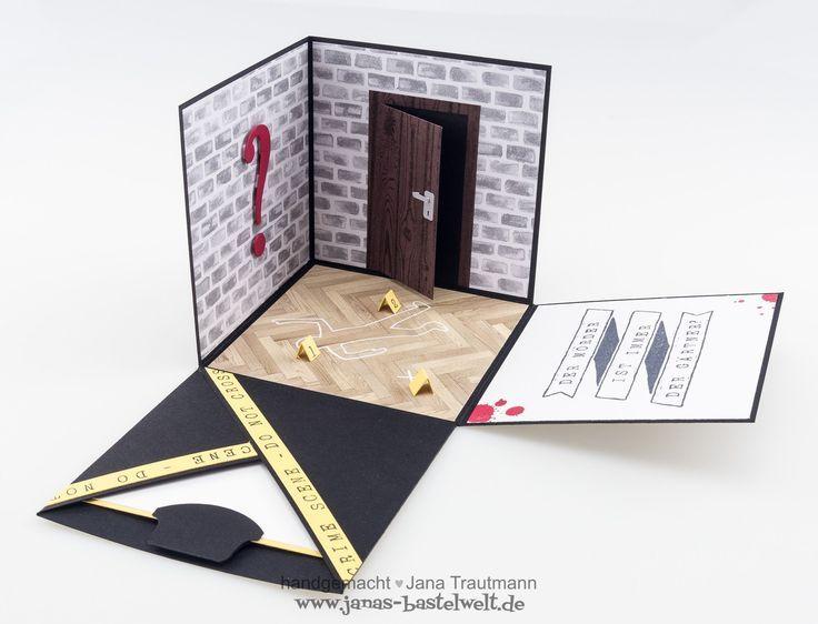 Krimi Explosionsbox Pin Tool Gutschein Basteln Explosionsbox Gutschein Selber Basteln