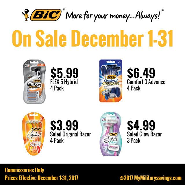 Save BIG on BIC razors this December at the Commissary   Featured Brands   My Military Savings   Deals, Coupons