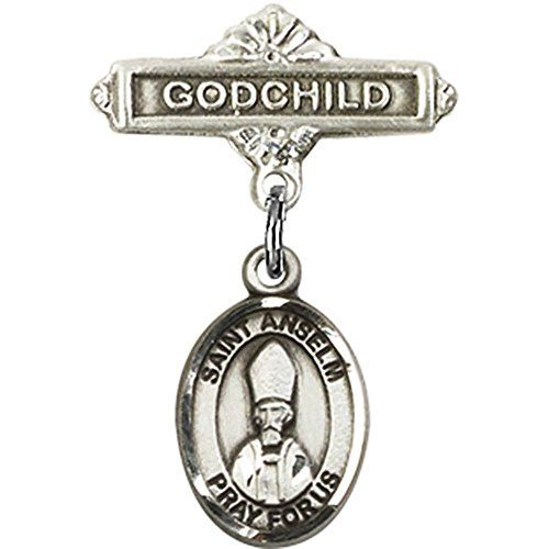 Sterling Silver Baby Badge with St. Anselm of Canterbury Charm and Godchild Badge Pin 1 X 5/8 inches