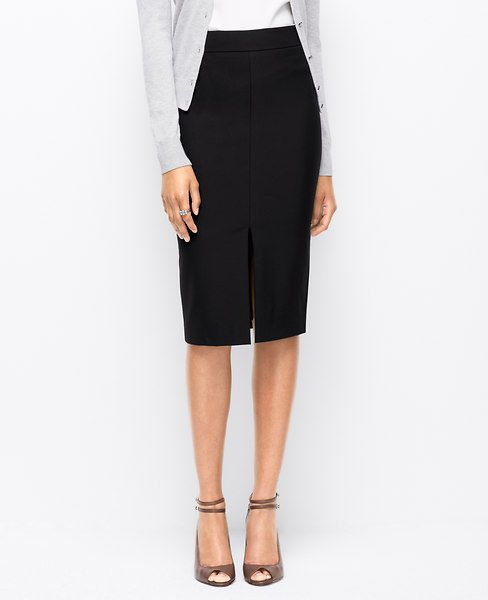 """stretch pencil skirt long with front slit.  Lined. 28"""" long. Black Ann Taylor"""