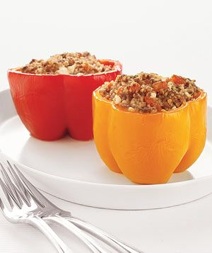 Couscous- Stuffed Peppers. I used ground turkey instead of ground beef and dried cherries instead of dried apricots.