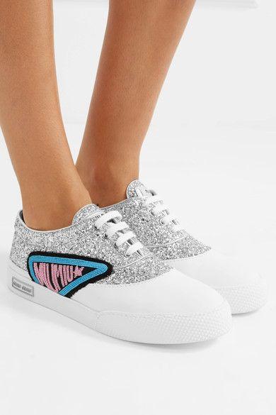 Miu Miu - Appliquéd Glittered Leather Sneakers - Silver