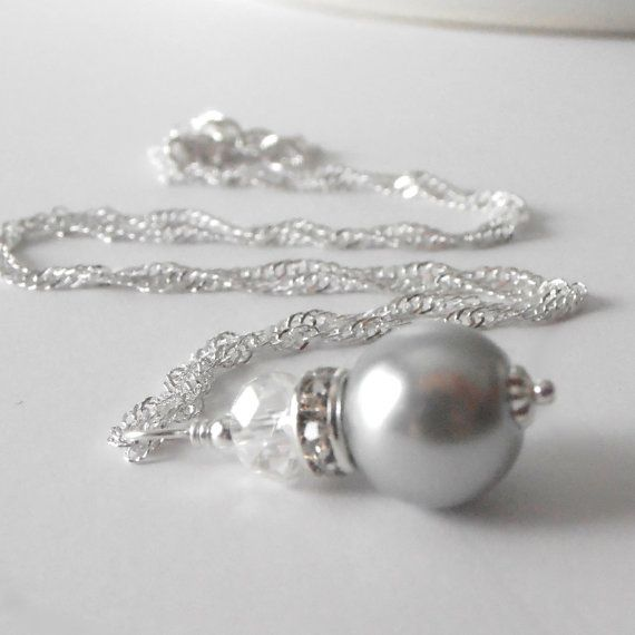 Gray Pearl Bridesmaid Jewelry, Simple Beaded Pendant, Wedding Party Necklaces, Grey Bridal Jewellery in Silver, Avalon on Etsy, $12.00