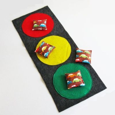Stoplight bean bag toss for a Disney Cars birthday activity.  See more birthday parties for kids at www.one-stop-party-ideas.com