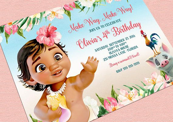 moana birthday invitation moana theme