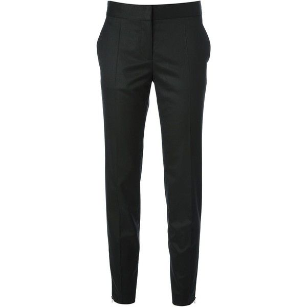 Stella McCartney cigarette trousers ($650) ❤ liked on Polyvore featuring pants, bottoms, trousers, jeans, black, cigarette trousers, stella mccartney, black slim fit pants, slim wool trousers and slim black pants