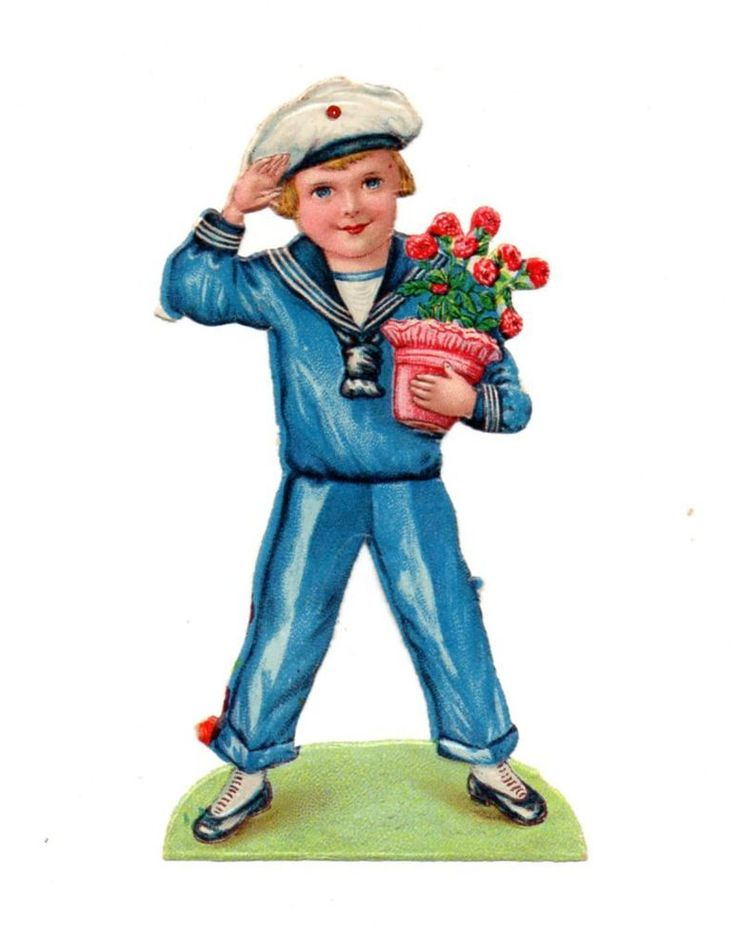 Alte Oblate Glanzbilder Scraps Kinder Matrose L&B 10,5cm ...