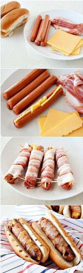 ¿Una manera diferente de preparar perros calientes? Presta atención a ésta. Sólo necesita´ras salchichas, rebanadas de queso amarillo para rellenarlas y rebanadas de tocineta para cubrirlas. Ahora sólo queda freírlas y colocarlas en tu pan con tu salsa preferida y ¡a comer!