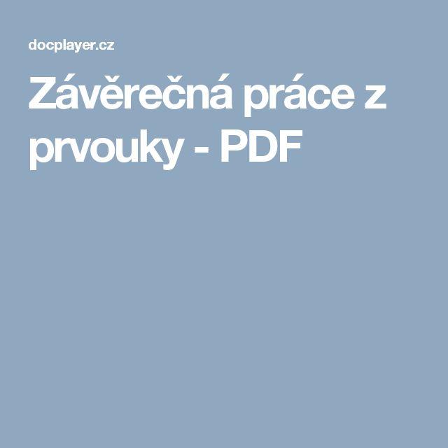 Závěrečná práce z prvouky - PDF