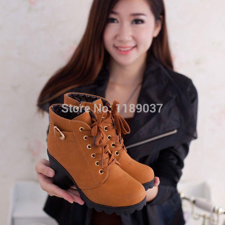 Горячий продукт осень и зима бархат с коротким загрузки толстые каблуки дикий черный матовый женские туфли мисс хан пан пр мартин ботинки оптовая продажа, принадлежащий категории Сапоги и ботинки и относящийся к Обувь на сайте AliExpress.com   Alibaba Group