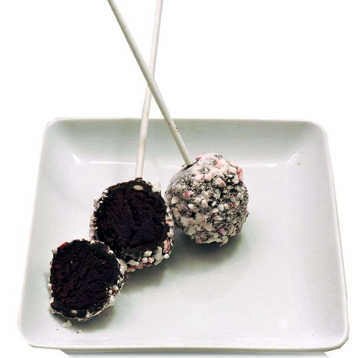 Dark Chocolate cake pop dipped in peppermint candy.