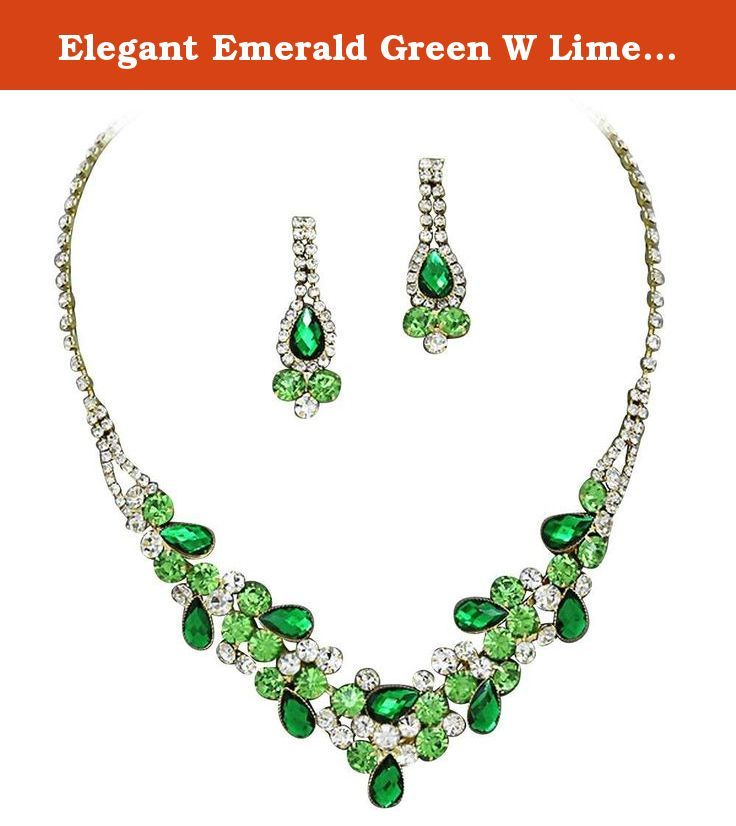 Elegant Emerald Green W Lime Green Accents V-Shaped Garland Bridesmaid Evening Necklace Set Gold Tone K6. Beautiful Elegant emerald Green W Lime Green Accent Crystal Rhinestone bridal or bridesmaid Necklace Set Add dazzling color to an ensemble with this rhinestone jewelry. This necklace provides a stunning look that will go great with your event. Colored rhinestone crystals surround the larger crystals and complete the necklace that adjusts to 18 inches. Drop earrings appx 2 inches match...