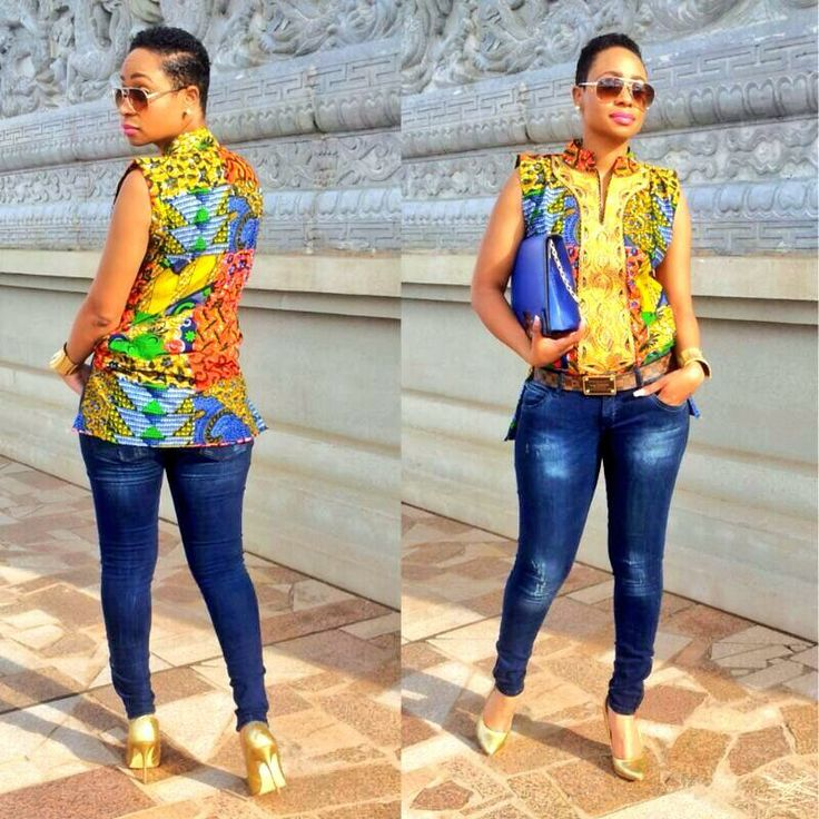 african print meets denim