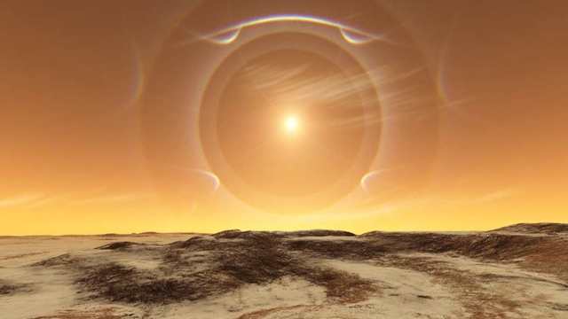 landscape of mars (halos and sundogs formed from sunlight passing through crystals of ice in atmosphere)