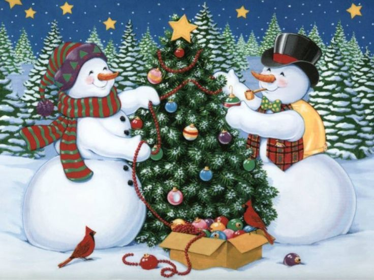 snowmen decorating a christmas tree