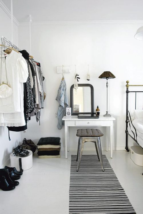 neutral: Decor, Ideas, Home Interiors, Open Closet, Clothing Racks, Vanities, Black White, White Bedrooms, Small Spaces