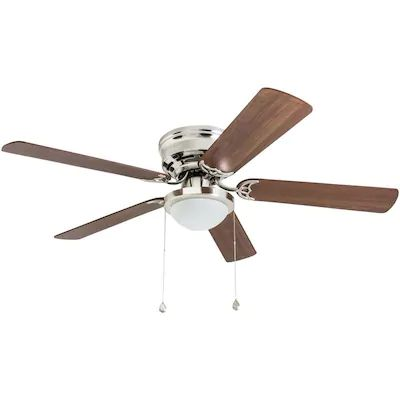 Harbor Breeze Armitage 52 In Brushed Nickel Led Indoor Flush Mount Ceiling Fan With Light In