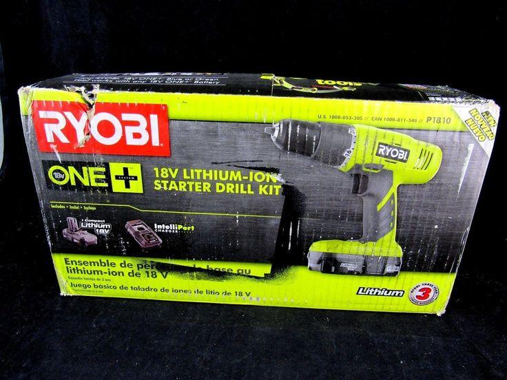 Ryobi P1810 One+ 18-Volt Lithium Ion Cordless Starter Drill Driver Kit 3/8 in.