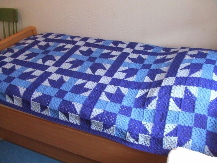 My world of crochet: Stargranny-Tagesdecke blau