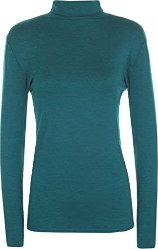 From 1.85 Womens Ladies Long Sleeve Turtle Neck Top Roll Neck Polo Neck Plain Jumper Plain Tops Plus Size 8-26 (s/m (uk 8-10) Teal)
