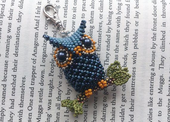 Beautiful little beaded owl bag charm by VicsBits on Etsy, £18.50