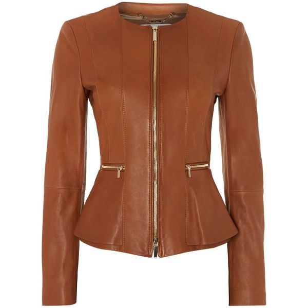 Hugo Boss Sakira Collarless Leather Jacket (€750) ❤ liked on Polyvore featuring outerwear, jackets, tan, women, real leather jacket, collarless jacket, hugo, collar jacket and leather jacket