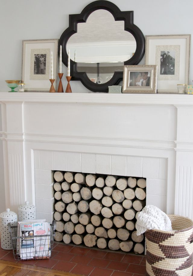 Incredible DIY faux log stack from The Lovely Cupboard