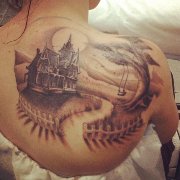 haunted house back tattoo stunning tattoo ideas