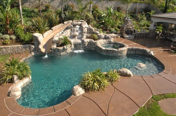 Beige Tiles Grey Stones And Green Plants Lining The Sides Of A Small Pool Containing A Slide Like Decorative Backyard Pool Small Backyard Small Backyard Pools