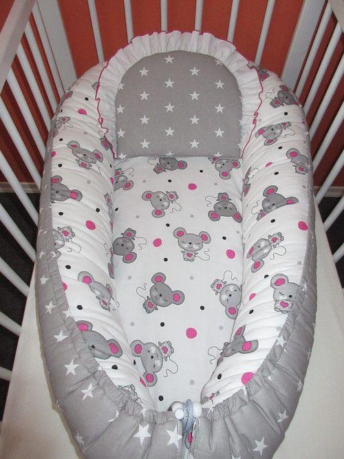 Souprava hnízdečko pro miminko růžovo šedé myšky