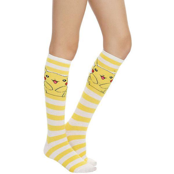 Pokemon Pikachu Knee-High Socks Hot Topic (5.81 CAD) ❤ liked on Polyvore featuring intimates, hosiery, socks, white knee high socks, striped knee high socks, white socks, knee-high socks and yellow knee socks