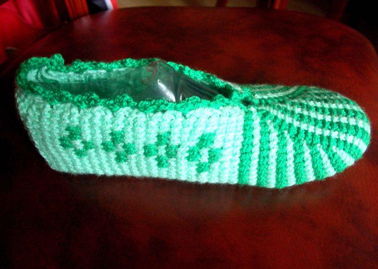 "Следки тунисским крючком на любой размер ч 3 ""А"" (Tunisian crochet slipp..."