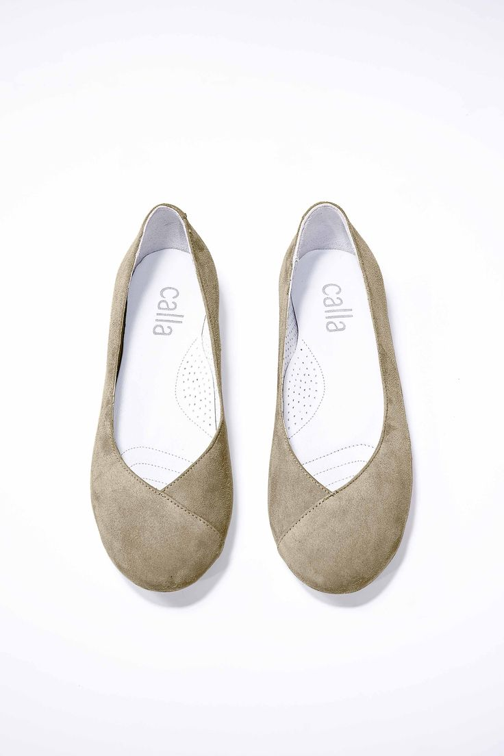 Charlotte - Beige | Calla Shoes  Ballet style flats for women with bunions