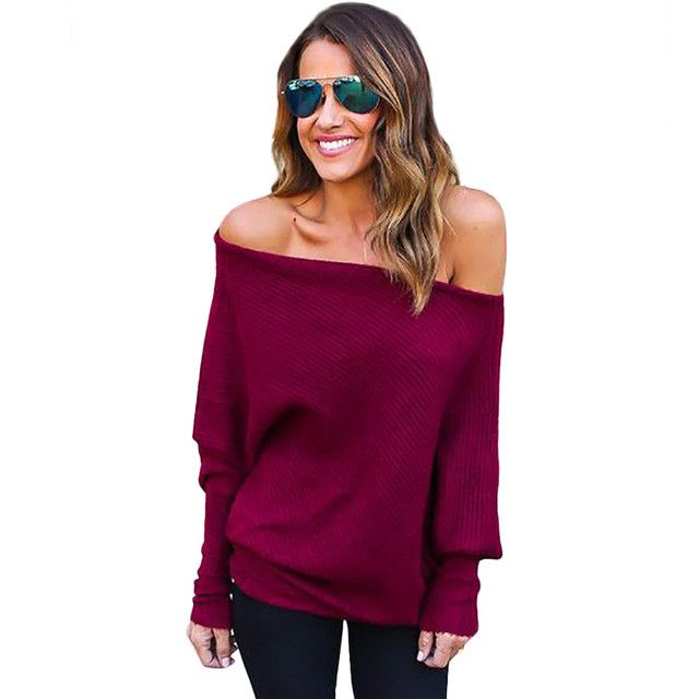 Ukraine women knitted Sweaters and pullovers plus size Off Shoulder sweater slash neck Pullover spring 2017 jerseis mujer hombro