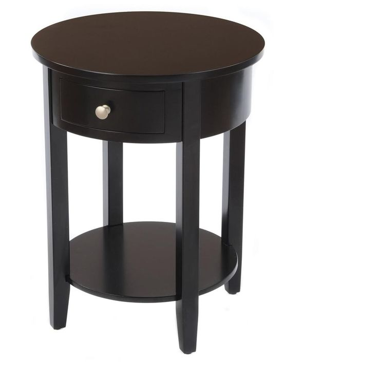 Black Round Side Table With Drawer