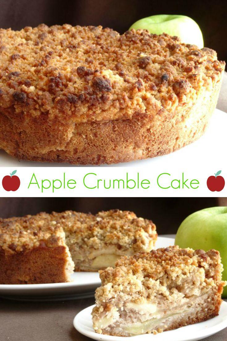 Apple Crumble Cake Recipe - a wonderful fall dessert made of a cinnamon sponge layer, thinly sliced apples and a wonderful buttery cinnamon crumb topping. | www.pinkrecipebox.com