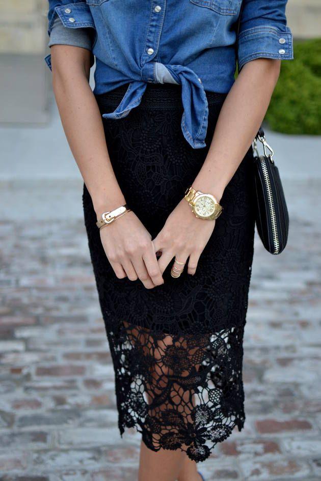 Laced  skirt & denim shirt tied!