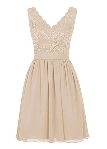 Material:Chiffon and Lace, Neckline: V neck , Sleeve:Sleeveless , Dress Length:Short , Back: Zipper