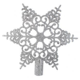 Punta del Árbol de Navidad nieve de plateado. [PR001661] - €3.99 : HolyartEl primer comercio electrónico de artículos religiosos