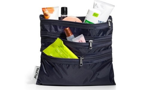 Rume Bags Reusable Baggie All - 3 zippered pockets in one handy pouch. Food-safe so ideal for everything from snacks to make up. www.lavishandlime.com/RuMe-Bags-Reusable-Baggie-All-black-p-1445.html