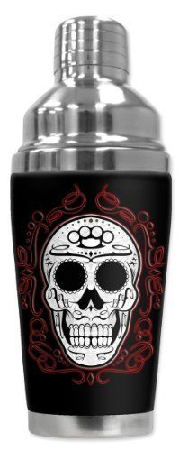 Mugzie® brand 16-Ounce Cocktail Shaker with Insulated Wetsuit Cover - Fancy Skull by Art Plates. $25.95. Hand-sewn fabric cover is made from 1/4 inch closed-cell neoprene that is covered with soft, water-proof polyester fabric.. Cushioned cover affords a secure grip and eliminates condensation and sweating. Bottom counter-weighted bottom provides stability.. Stain-resistant cover is printed in hi-resolution and has full-wrap coverage. Leak and spill proof lid. Non-skid bottom.. ...