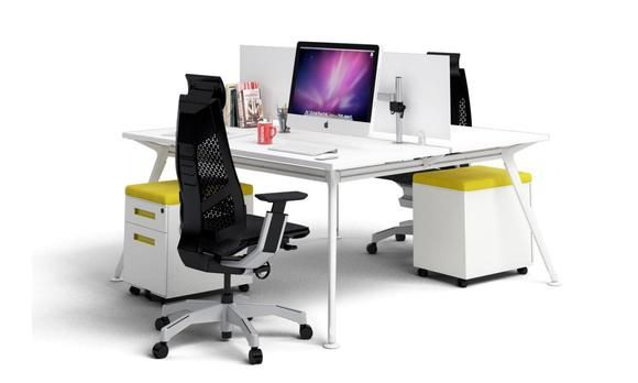 San Fran Ergonomic 2 Person Workstation Bench White Leg. Modern, stylish and affordable. This 2 person workstation allows two people to work independently yet share the dynamics of a team.