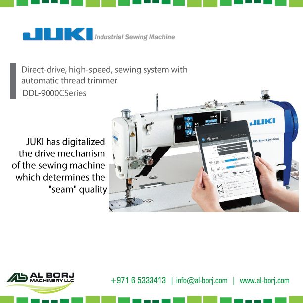 #Juki DDL-9000C Series, Direct Drive, High Speed, #Sewing system with automatic thread trimmer | completely digital drive mechanism of the sewing machine which determines the seam quality | for more detail and prices please contact us via hassan@alborj.com | +971 52 6675388 | www.al-borj.com | https://shop.al-borj.com  #alborjmachineryllc #SingeNeedle #Digital #Tailor #GarmentFactory #Boutiqe #Dubai #Jeddah #Amman #Nairobi #AddisAbaba #VIVOSIIMA