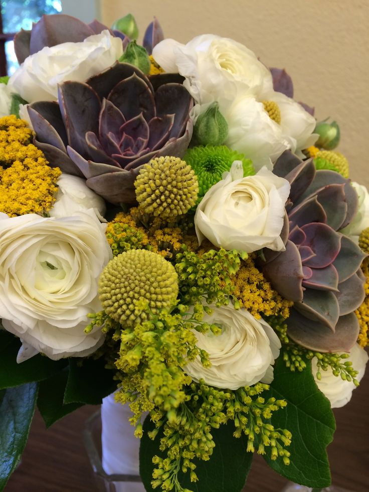 Natural Bridal Bouquet Of White Ranunculus Succulents Billy Balls Yellow Yarrow And