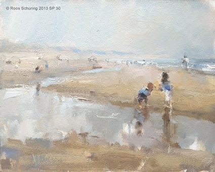 Seascape spring 30 Paddling, painting by artist Roos Schuring