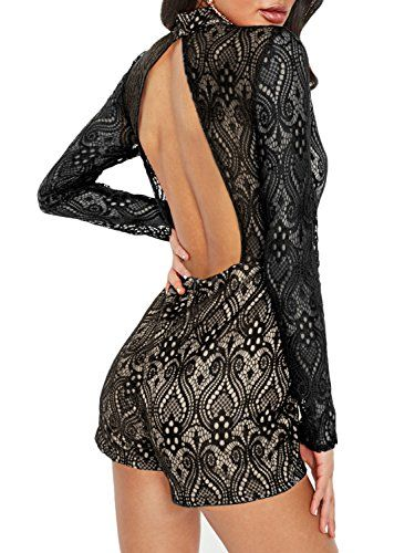 33a2995ab5bb Glamaker Women s Sexy Backless Bodycon Lace Romper Long Sleeve Short  Jumpsuit Mock Neck Playsuit