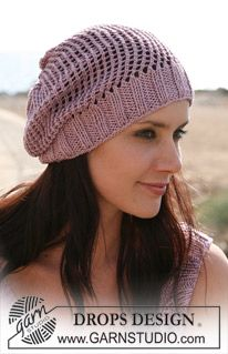 "DROPS Hat in ""Cotton Viscose"". ~ DROPS Design"